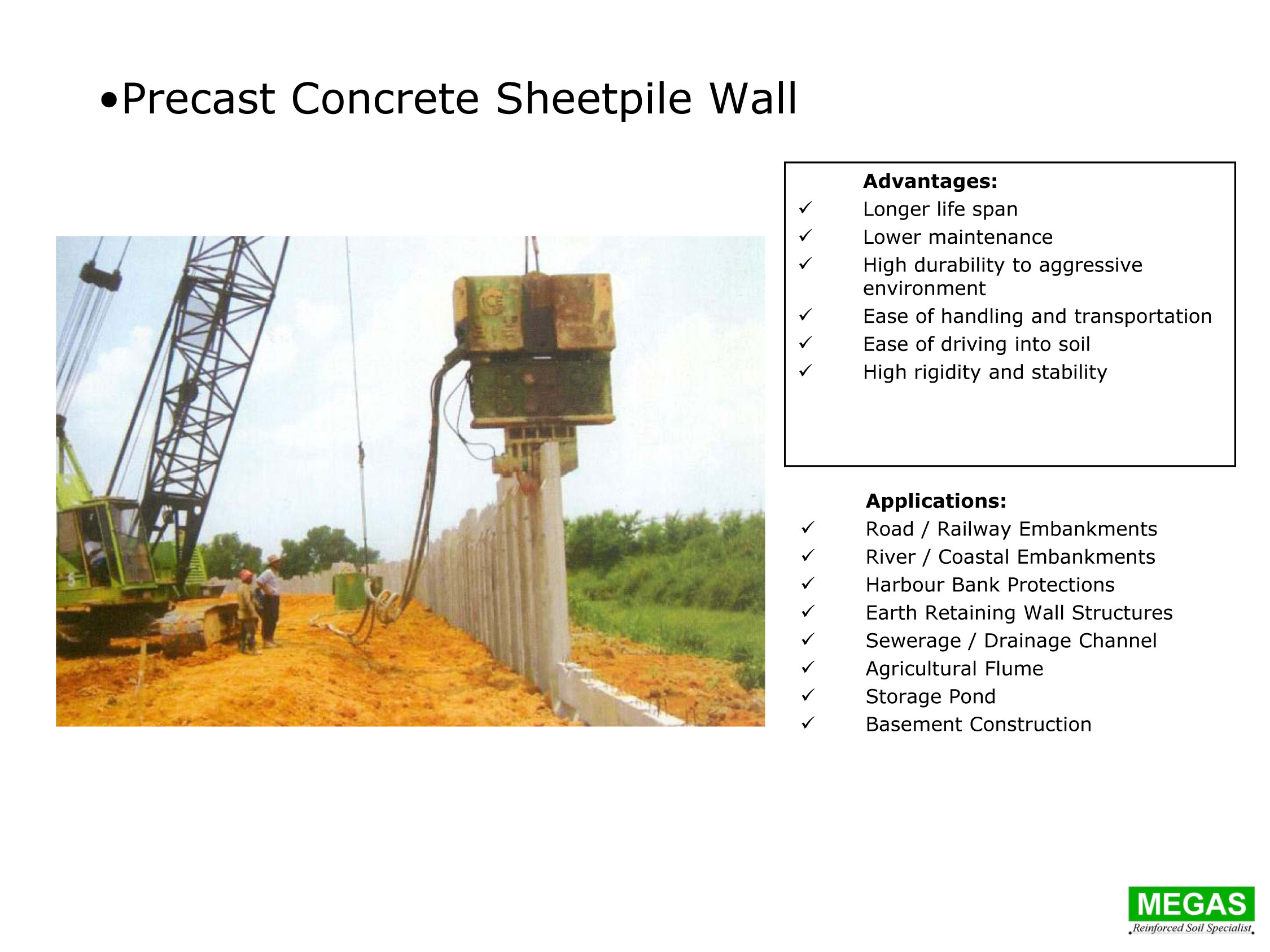 Precast Concrete Sheetpile Wall